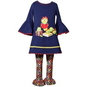 Girls Back to school Bookworm outfit Sz 4 5 6 new